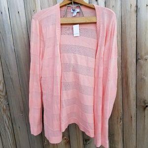 Loft Pink Striped Cardigan XL