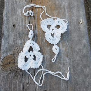 White Crochet Foot or Hand Bracelet
