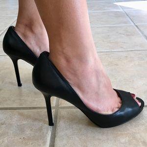 Enzo Angiolini Black Peep Toe Leather Pumps Sz 7