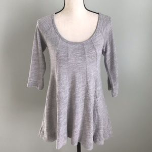 Anthropologie Deletta Gray Pathed Seams Knit Top