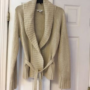 Loft belted sweater/cardigan w/gold metallic