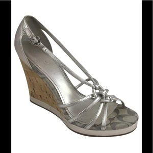Joslin Silver Leather sandal cork platform wedge 9