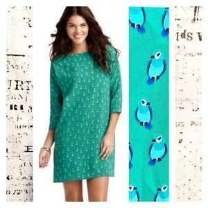 Ann Taylor Loft Shift Dress Bird Print Green Blue