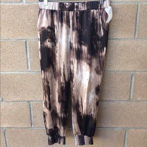 guess silky tye dyed multi jogger pants size M New