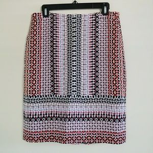 Drapey pencil skirt in pink geo