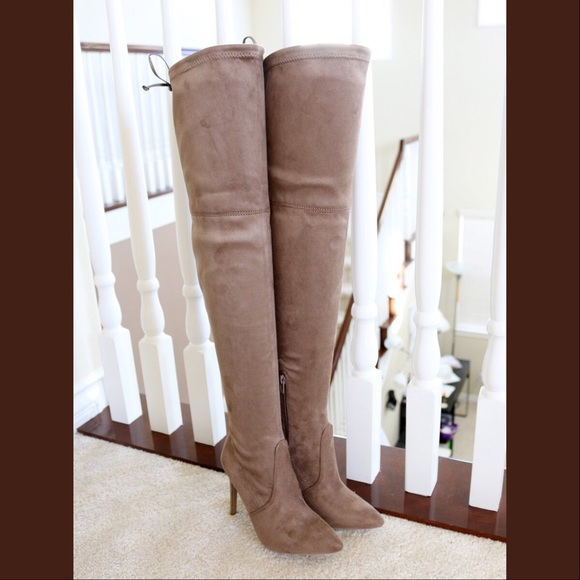 aae4c916e06 akira-91 taupe stretched over the knee boots NWT