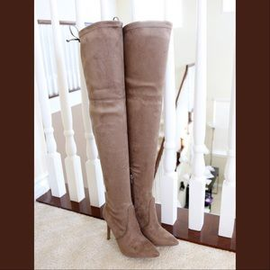 akira-91 taupe stretched over the knee boots