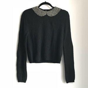 Zara Knit embellished collar sweater