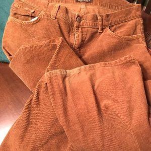 Men's boot cut corduroy pants, light brown.