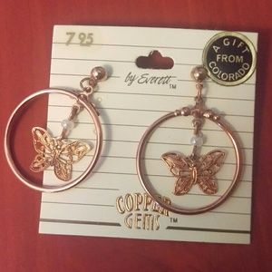 True vintage earrings- copper/ rose gold butterfly