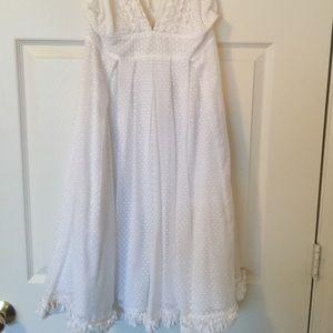J Crew White cotton deep V neck halter dress