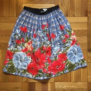 Odille Picked Plaid Poppy Floral/Bluebird Skirt