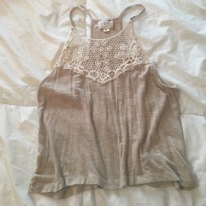 Tan tank with Crochet details