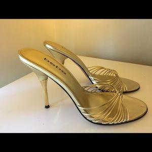Gold Bebe heel sandals