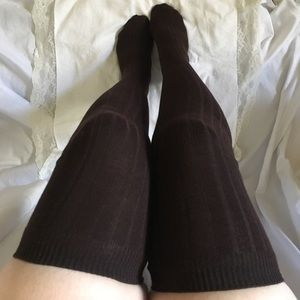 2/$24. Ribbed Thigh Highs-Brown