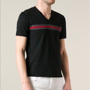 7b64f3c2ef8 Gucci Shirts - Mens Gucci Black stripe detail V-neck T-shirt