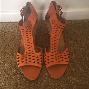 Franco Sarto orange wedge sandals