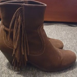 Chocolate brown fringe booties