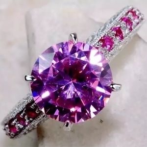2CT Pink Sapphire W/Natural Rubies Engagement Ring