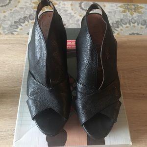 Jeffrey Campbell V Man Black Leather Wedge
