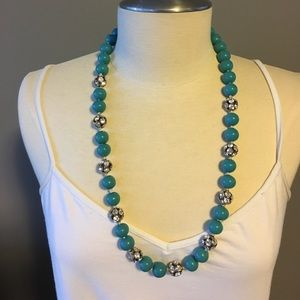 Blue and rhinestone necklace