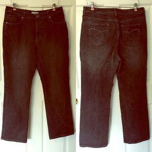 Chico's Platinum Black Jeans 3 14 16 XL Large