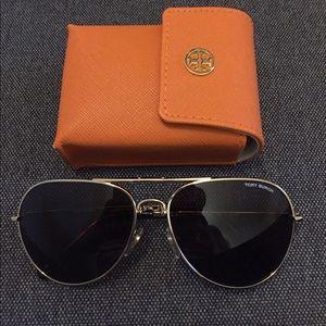 Tory Burch gold foldable aviator pilot sunglasses