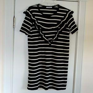 ZARA Black&White Ruffle Stripe Knit Dress