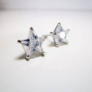 Betsey Johnson Silver Star CZ Stud Earrings