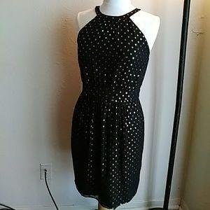 Shoshanna Metallic Dot Silk Dress