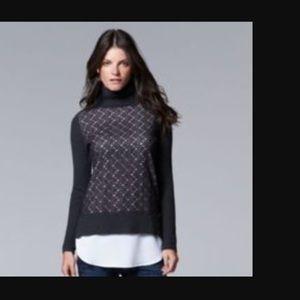 Simple Vera mock-layer turtleneck sweater