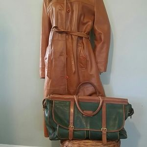 Vintage Leather Green and Tan Travel Bag
