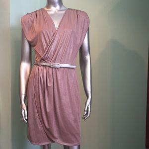 Shimmer mauve knit draped dress
