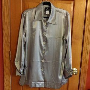 Vintage silky polyester oversized blouse