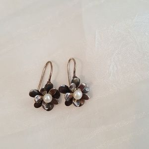 Silpada Pearl and Sterling Silver Earrings