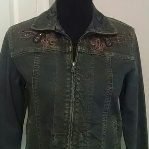Coldwater Creek jean embroidered jacket