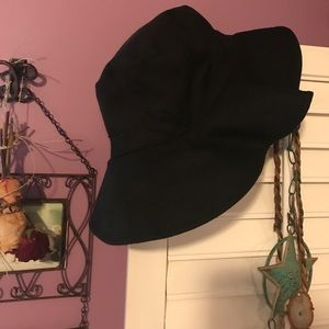 Black large floppy hat 100% cotton