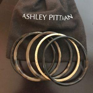 Ashley Pittman Tortoise and brass bangle set