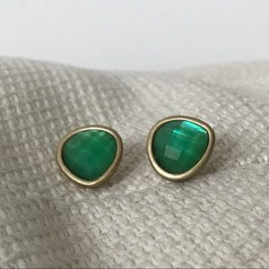 ANTHROPOLOGIE Aqua Stone Gold Rimmed Post Earrings