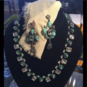 Betsey Johnson Rhinestone Necklace & Earring Set