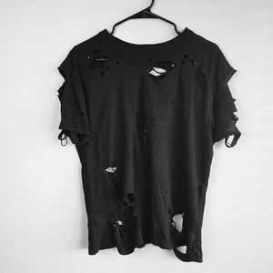 Black Ripped Shredded Torn Zombie Apocalyptic Larg