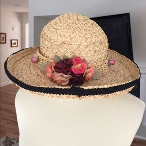 Jax San Francisco Wicker Flower Hat w/ lace trim