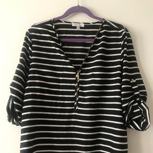 Calvin Klein black and white striped blouse