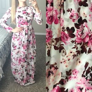 White & Pink flower maxi dress