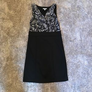 Black and gray snake skin print dress