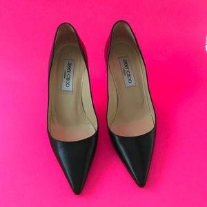 "Junny Choo classic ""Romy"" black leather heel pump"
