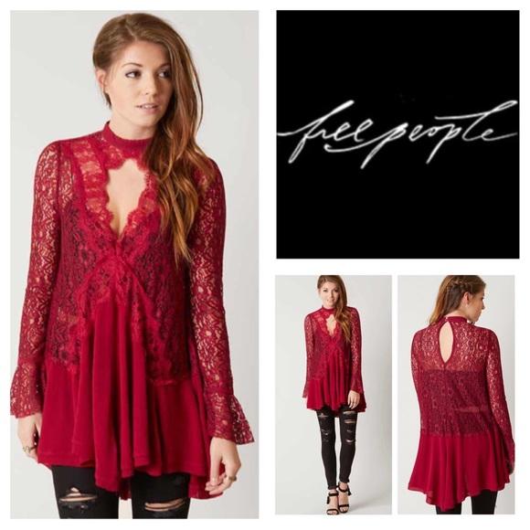 4fe2694e176 Free People Secret Origins Pieced Lace Tunic. NWT.