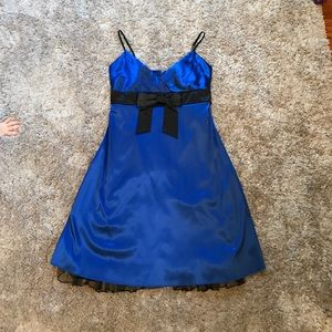 Black and blue satin cocktail dress