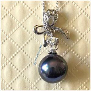 Black Ocean Pearl Bow Knot Pendant Necklace BNWOT