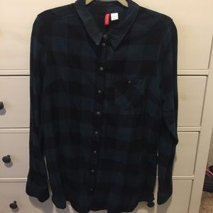 H&M plaid teal green/black flannel shirt - size 14